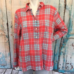 J. CREW Gauze Popover in Red & Blue Plaid Shirt